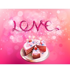 Inscription love pink ribbon with big cake vector