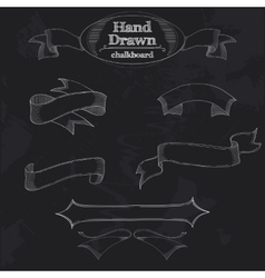 Chalkboard banner and ribbon vector