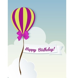 Happy birthday ballons greeting card violet paper vector