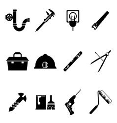 Building equipment icons and construction tools vector