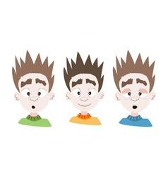 Three emotional boy faces vector