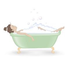 Woman taking a bath with foam vector