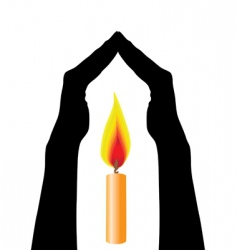 Human hands caring flame vector