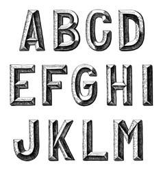 Hand draw sketch alphabet design vector