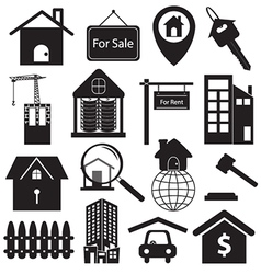 Real estate symbols set vector