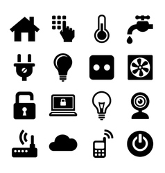 Smart home management icons set vector