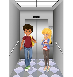 Two teenagers at the elevator vector