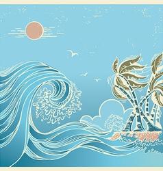 Big waves blue seascape vector