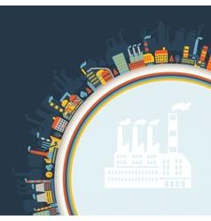 Industrial factory buildings background vector