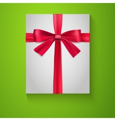 Gift wrapping with red bow and ribbon top view vector