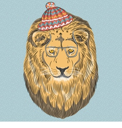 Hipster wild big cat lion vector