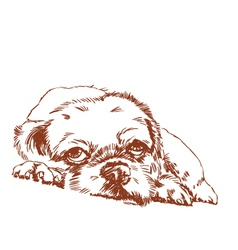 Lonely dog hand sketch vector