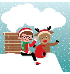 Santa claus and reindeer on the roof vector