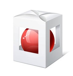 Package cardboard box with a red ball inside vector