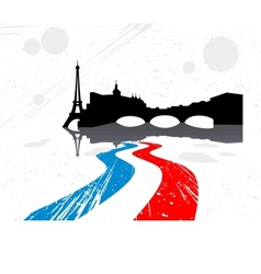 Detailed silhouette of the city of paris vector