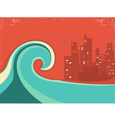 Tsunami and big city in the nighthuge wave poster vector