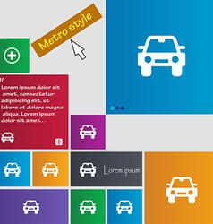 Auto icon sign metro style buttons modern vector