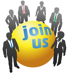 Join up with business people ball vector
