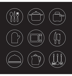 Utensils icons set 9 vector