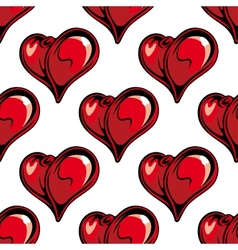 Retro red hearts seamless pattern vector