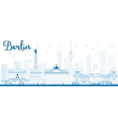 Outline berlin skyline vector