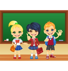 Smiling schoolchildren near blackboard vector