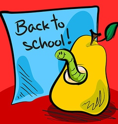Back to school worm in pear vector