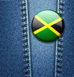 Jamaica flag badge on jeans denim texture vector