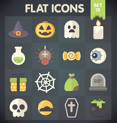 Halloween universal flat icons set 13 vector