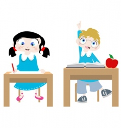 Studying cartoon characters vector