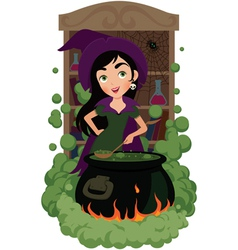Witch cooks potion vector