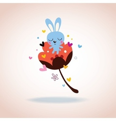 Bunny character in love vector