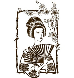 Traditional japanese geisha with fan stencil vector