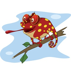 Big red chameleon cartoon vector