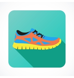 Shoes flat icon with bright colorful running vector