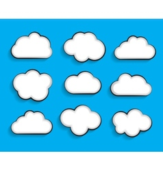 Set of flat cloud shaped frames with long shadows vector