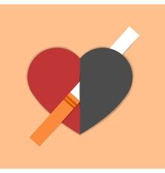 Heart pierced with cigarette vector