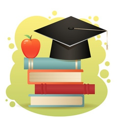 Traditional graduation hat books isolated vector