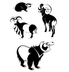 Art animal silhouettes vector