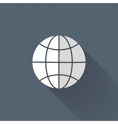White and grey globe icon over blue vector