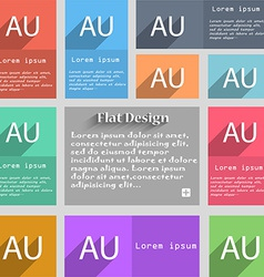 Australia sign icon set of colored buttons vector