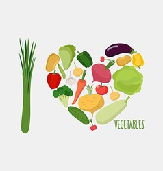 I love vegetables heart of vegetables healthy food vector