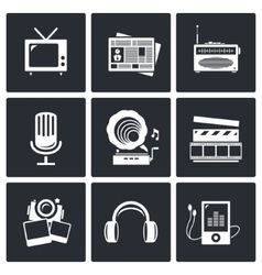 Media icon set - video news music tv recording vector