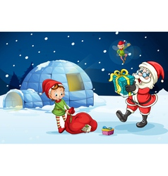 Christmas santa igloo vector