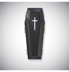 Elegant black coffin with glare and yellow handles vector
