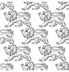 Outline heraldic lions seamless pattern vector