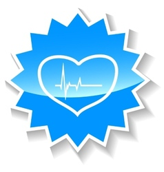 Heartbeat blue icon vector