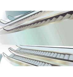 Many escalators indoor view from above vector