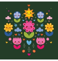 Cute cartoon flower characters stylized nature vector