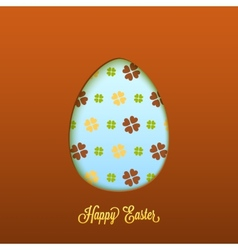 Happy easter card with cut egg vector